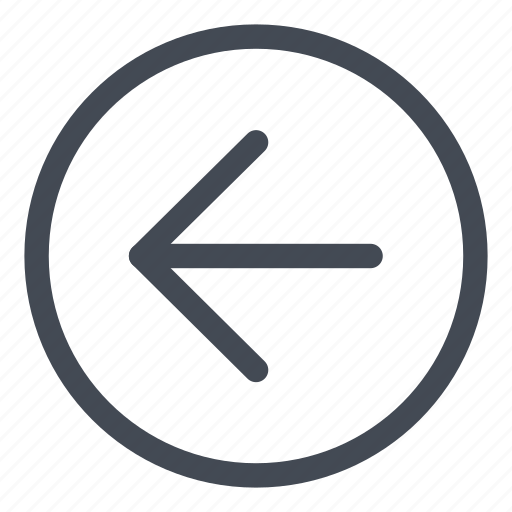 arrow, browse, circle, direction, left, line icon