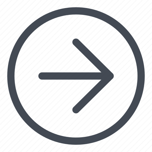 arrow, browse, circle, direction, line, right icon
