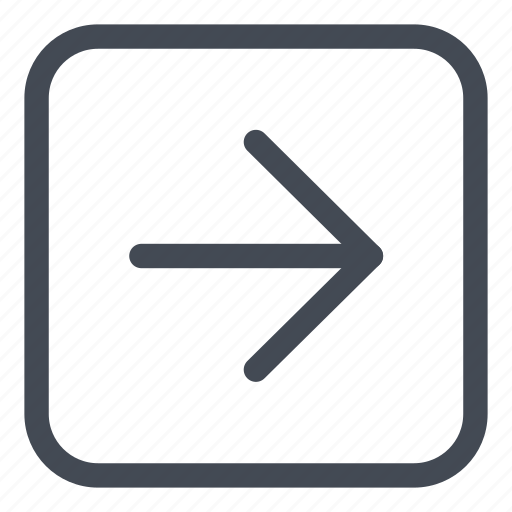 arrow, browse, direction, line, right, rounded icon