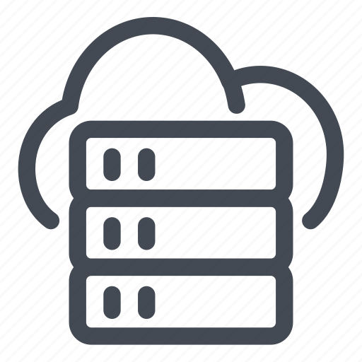 cloud, data, documents, files, information, line, storage icon