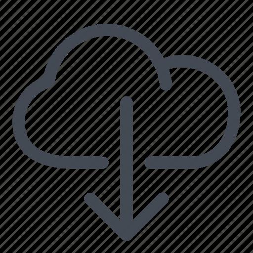 arrow, cloud, data, download, file, information, line icon