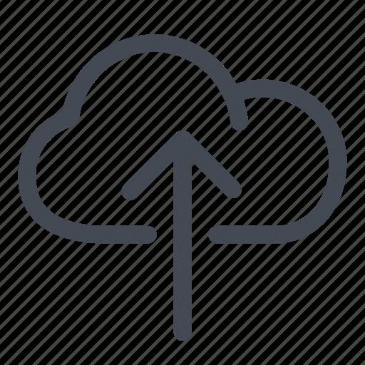 arrow, cloud, data, file, information, line, upload icon