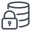 database, lock, password, protected, protection icon