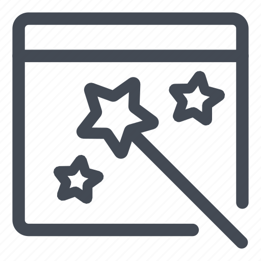 form, line, magic, wand, wizard icon