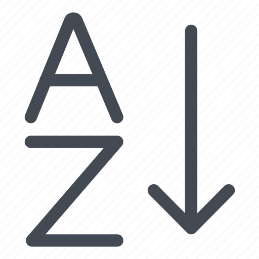 a, alphabet, az, sort, sort out, z icon