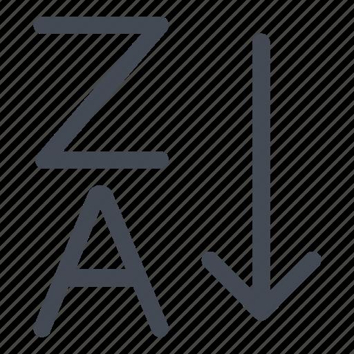 a, alphabet, inverse, sort, sort out, z, za icon