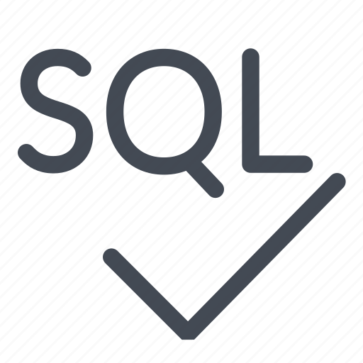 check, language, line, query, sql, structured, verified icon