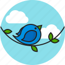 bird, clouds, leaf, sky icon