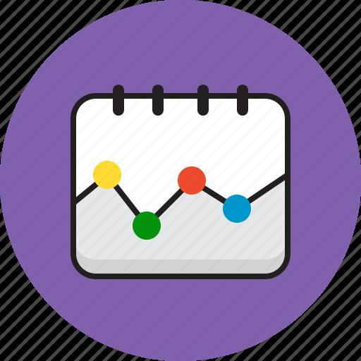 calendar, chart, dots, graph icon