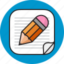 note, paper, pen, write icon