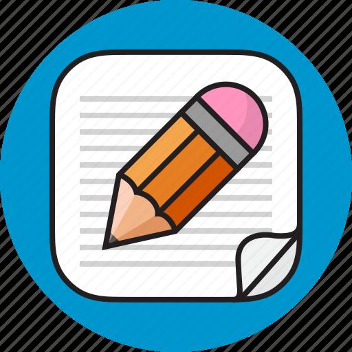note, paper, pen, write icon