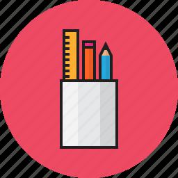 education, pen, pencil, ruler icon