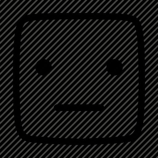 emoji, emoticon, emotion, face, no expression, straight icon
