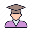 account, avatar, head, man, person, student, student-head icon
