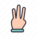 finger, gestures, hand-right, heand, interaction, shit-gesture, three-fingers icon
