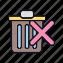 bin, cross, delete, document, recycle, remove, trash icon