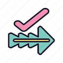 arrows, direction, forward, marker, move, navigation, right icon