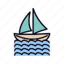 boating, nautical, ocean, outdoor, sail, travel, water icon