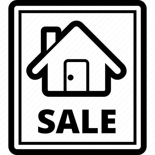 estate, house, real, sale, sell, sign icon