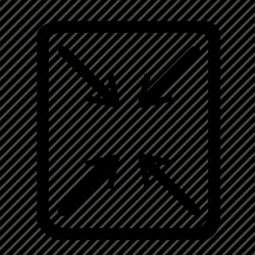 compress, convert, focus, format, minimize, reduce, transform icon