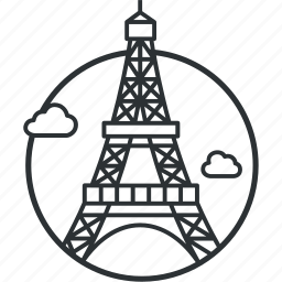 eiffel, france, landmark, line, paris, sight, tourism icon