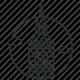 ben, big, clock, landmark, line, london, tower icon
