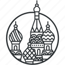capital, dome, kremlin, landmark, line, moscow, russia icon