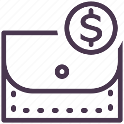 cash, dollar, finance, money, payment, pouch, wallet icon
