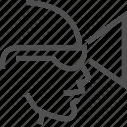 glasses, helmet, men, reality, simulation, view, virtual icon
