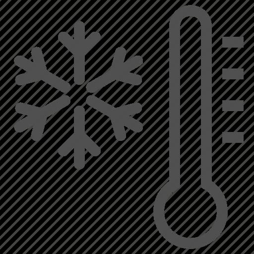 climate, cold, cool, mode, snowflake, temperature, thermometer icon