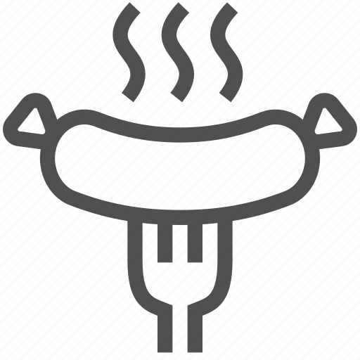 barbeque, food, fork, grill, hot, meat, sausage icon