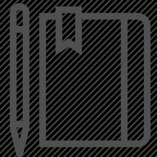 book, bookmark, diary, organizer, pen, pencil, personal icon