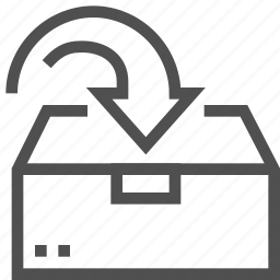arrow, box, cargo, container, package, put, upload icon