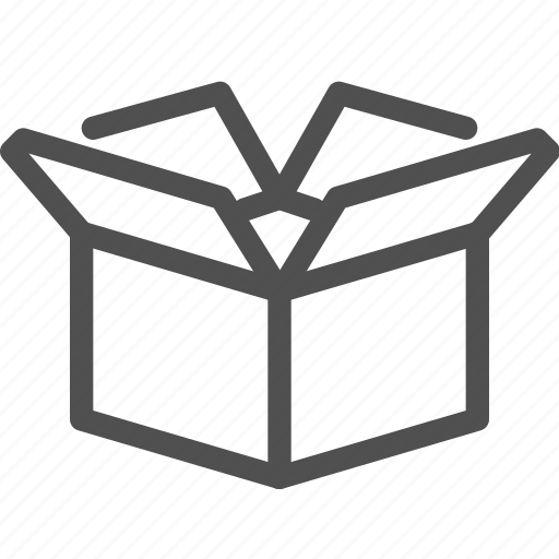 box, cargo, container, open, package, paper box icon