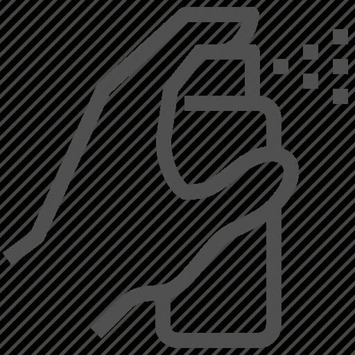 atomize, diffuse, hand, liquid, pulverize, spray icon