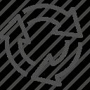arrows, circle, direction, navigation, round, turning, way icon