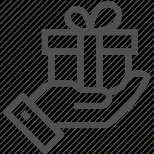 Bestow, box, gift, hand, handle, present, presentation icon