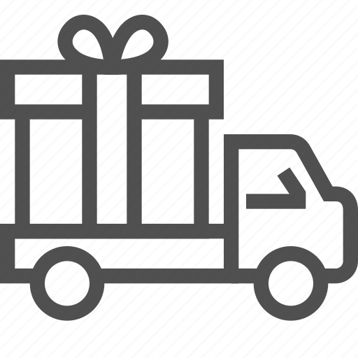 box, car, delivery, gift, present, ribbon, shipping icon