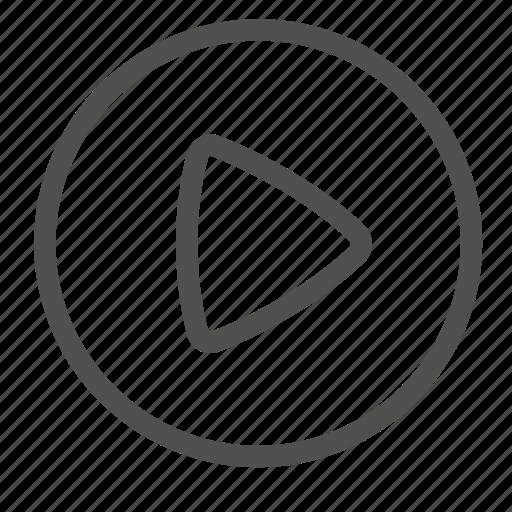 arrow, button, film, media, movie, start, video icon