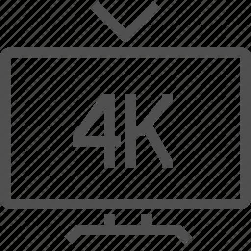 4k, digital, format, movie, television, tv, video icon