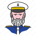 avatar, captain, navy, officer, people, profession, seafarer icon