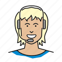 avatar, call center, headset, help desk, people, profession, telephonist icon