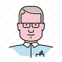 accountant, avatar, man, nerd, office, people, profession icon