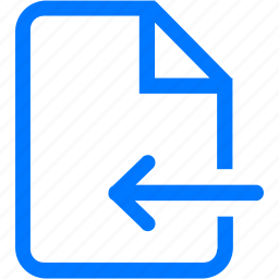 arrow, document, download, file, import icon