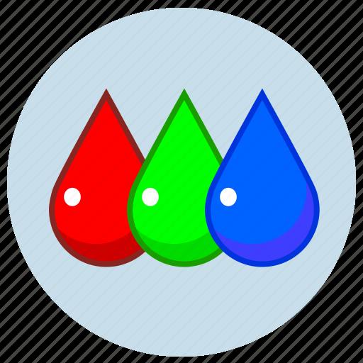 blue, display, drop, green, lcd, red, rgb icon