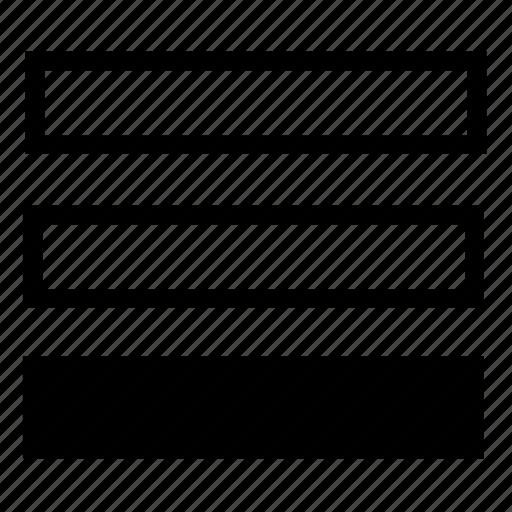 bottom, list, rows icon