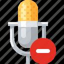 delete, mic, microphone, minus, record, remove icon