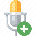 add, mic, microphone, music, new, plus, song icon