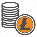 coin, coins, cryptocurrency, litecoin icon