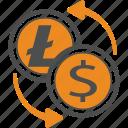 cash, litecoin, money, transfer icon